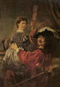Рембрант. Автопортрет с Саскией на коленях
