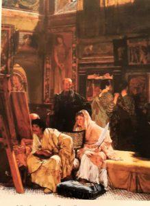 Альма-Тадема. Картинная галерея. Около 1874. В центре в виде античного арт-дилера изображен Эрнест Гамбар