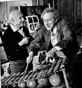Пикассо с Жаном Кокто на ксилофоне