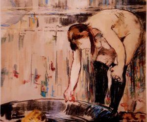 Мане. Купальщица, нагнувшаяся к ванне. 1878-1879