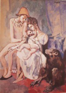 Пикассо. Семейство циркачей с обезьяной. 1903. Не то розовый, не то голубой период. «Смотрю и плачу», так погано (плохо) нарисовано