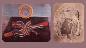 Макс Эрнст. Слева: Черное солнце. 1927-1928. Справа: Фигура, 1929. Эти «картины» тоже вполне подошли бы для перформанса Берримора, как и любое другое «полотно» любого авангардиста.
