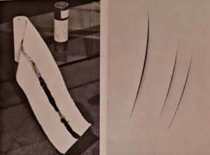 Справа: Лучо Фонтана. Пространственная концепция. 1960. Поп-арт. Слева: Пьеро Мандзони. Линия длиной в 20 метров. 1959. Это рулон, возможно, туалетной бумаги, но не для человека судя по ширине бумаги. Поп-арт