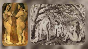 Слева: Пикассо. Две обнаженные. 1906. Справа: Сезанн. Три купальщицы