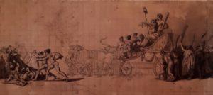 Давид. Декорация к пьесе в театре, посвященная «Триумфу французского народа» - празднику 10 августа 1793 (годом раньше в этот день решили покончить с монархией и в январе 1793 отрубили голову Людовику XVI, потом и его жене Марии Антуанетте). Рисунок 1793 г.