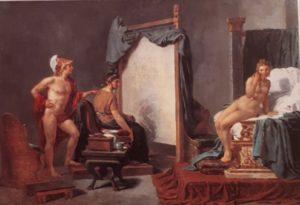 Давид. Апеллес рисует Кампаспу перед Александром Македонским. Амур и Психея (внизу). 1817. Кливленд. Музей искусств