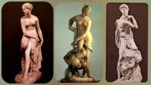 Слева: Бартолини. Нимфа Океанида (или Нимфа Арно). Гипс. 1816-1817. Прато. В центре: Джамболонья. Флоренция, празднующая победу над Пизой. 1575. Справа: Микеланджело. Победа. 1532-1534. Палаццо Веккьо. Флоренция