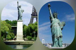 Справа: Ф.О.Бартольди. Статуя Свободы на Манхеттене, Нью-Йорк. Открыта в 1886. Слева: Статуя Свободы на реке Сене в Париже.
