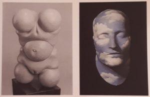 Слева: Ганс Белмер. Кукла. 1936. Аллюминий. Справа: Рене Магрит. Будущее статуй. 1932