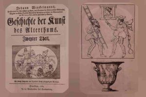 Слева: Титульный лист первого издания книги И.И.Винкельмана в Дрездене, 1764. Справа - шутники: иллюстрации из этой книги, экземпляр которой хранится в Эрмитаже