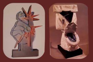 Слева: Марти Рейс (родился в 1936, Франция). Америка, Америка. 1964. Центр Помпиду. Париж. Новый реализм. Справа: Клас Ольденбург (родился в 1929, Швеция). Мягкий унитаз. Музей американского искусства Уитни, Нью-Йорк, США. Поп-арт