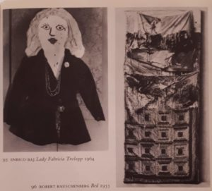 Слева: Энрико Бай. Леди Фабриция Тролоп. 1964. Справа: Роберт Раушенберг. Кровать. 1955