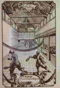 Жё-де-пом (игра в мяч, jeu – игра, paume – ладонь). Гравюра 17 века. Играли на открытом воздухе на больших площадках длиной до 80 метров, или в зале 10х30 метров. В 1908 игра была на Олимпийских играх, потом плавно перетекла в теннис