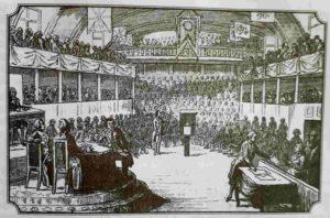 Людовик XVI дает показания в Национальном Конвенте. Оправдывается. Гравюра 1790-ых