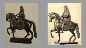 Жирардон. Уменьшенная копия памятника Людовику XIV. Слева: Копия из Лувра. Справа: Копия из Эрмитажа