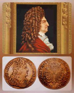 Сверху: Антуан Бенуа. Портрет Людовика XIV. 1706. Внизу: Золотой экю 1712 г. с изображением Людовика XIV