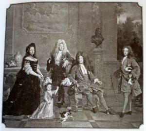 Николя де Ларжийер. Портрет Людовика XIV с семьей. 1710. Слева направо: 1.Гувернантка герцога Анжуйского (малыша), 2. Малыш – герцог Анжуйский, 3.Великий Дофин (сын Людовика XIV и дед Людовика XV), 4. Людовик XIV, 5.Герцог Бургундский (отец Людовика XIV). Итак, Людовик XIV похоронил сына и внука, а малыш с картины и стал королем Людовиком XV
