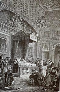 Умирающий Людовик XIV в окружении Родных и близких. Гравюра 19 века.