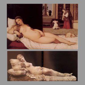 Сверху картина, снизу скульптура