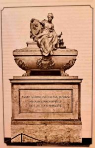 Инноченцо Спинацци. Гробница Николло Макиавелли. Базилика Санта-Кроче во Флоренции. 16 век. Наверху сидит дама – олицетворяет Дипломатию