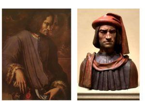 Слева: Джоржо Вазари Лоренцо Медичи Великолепный. Галерея Уффици. Флоренция. 1533-1534. Справа: тоже Лоренцо Великолепный (в авторстве подозревают Верроккьо)