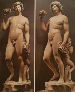 Микеланджело. Вакх. Национальный музей Барджелло. Флоренция. 1496-1497. Между прочим, сделан, когда во Флоренции рулил Савонарола, от этого «Вакха» заказавший его кардинал Риарио отказался