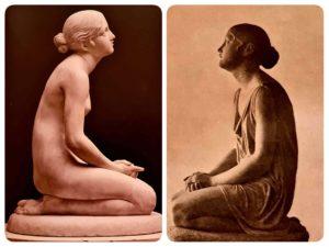 Справа: Рашетт. Молящаяся девушка. До 1809 года (в 1809 Рашетт умер). Слева: Бартолини. Вера в Бога. 1834-1836.