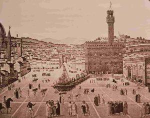 Мученичество Савонаролы. Около 1500. Центральная площадь Синьории во Флоренции