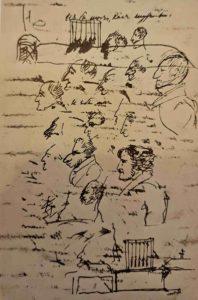 Пушкин. Рисунок виселицы с декабристами на странице рукописи
