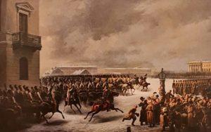 В.Ф.Тимм. Лейб-Гвардии Конный полк во время восстания на Сенатской площади 14 декабря 1825. 1853. Государственный Эрмитаж