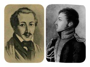 Портреты Пестеля (справа) и Каховского (слева)