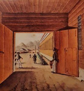 Петровский завод. Вход в острог. Акварель «жены декабриста» М.К.Юшневской. 1837.