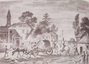 Секретный возок , доставивший в Сибирь двух ссыльных поляков. Корнеев Е. Акварель, тушь. 1810-е. Аналогично везли декабристов