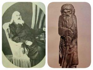 Слева: С.Г.Волконский. Фото. Справа. С.Т.Коненков. Старичок-полевичок. Дерево.