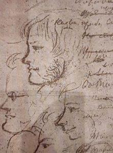 И.Пущин. Рисунок Пушкина