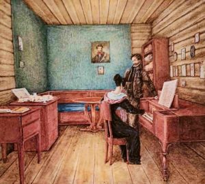 Н.Бестужев. Князь С.Г.Волконский (декабрист) с женой в камере Петровского завода. 1830. Бумага, акварель, белила