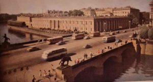 Аничков мост через реку Фонтанку. Фото начала 1960-ых. На переднем плане группы №№ 3, 4, на заднем плане группы №№ 1, 2 (см. п. 2 статьи)