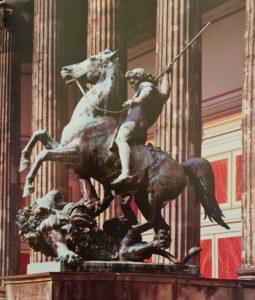 А.Вольф. Борец со львом. Подготовительный рисунок основывался на эскизе Рауха 1847 г. Скульптура воздвигнута в 1861. Старый музей. Берлин