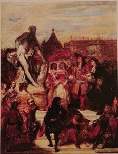 Ежен Деверия (1805-1865). Пюже представляет «Милона Кротонского» Людовику XIV в садах Версаля». Эскиз. Это чистой воды вранье или «фэнтэзи», поскольку в это время Пюже не был в Версале. Но этот художник – романтик, вот и размечтался, а его коллега Эжен Делакруа - так тот прославился своей топлес «Свободой, ведущей народ», тоже фэнтэзи