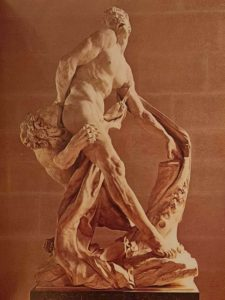 Пюже. Милон Кротонский. 1670-1682. Каррарский мрамор. Высота 270 см. Лувр. Париж. Подписана и датирована 1682 годом. На фото видны следы осадков, поздновато убрали под крышу этот шедевр