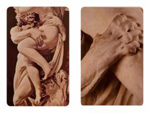 Справа: Милон Кротонский. 1682. Фрагмент. Слева: Бернини. Похищение Прозерпины. 1621-1622. Галерея Боргезе. Рим. Фрагмент