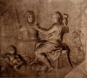 Шарль Лебрен. Аллегория: Скульптор, работающий над Бюстом Короля