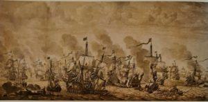 Виллем Ван де Вельде Старший. Морское сражение. Питти, галерея Палатина. Флоренция. Нидерландский художник. От тонущих кораблей отчаливают наполненные людьми шлюпки