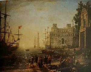 Клод Лоррен. Порт с виллой Медичи. Нарисовано в Риме в 1637. Галерея Уффици. Флоренция