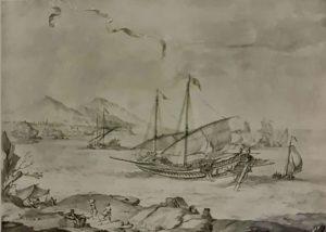 Пюже. Корабли на рейде Марселя. Музей изящных искусств. Марсель. Рисунок относится к тем далеким временам, когда Пюже еще только начинал и свои очаровательные рисунки с морскими видами дарил друзьям и спонсорам