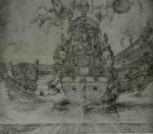 Пюже. Рисунок судна с трех ракурсов. Метрополитен музей. Нью-Йорк. Примерно 1669. Пюже – шеф скульптурной мастерской в арсенале Тулона