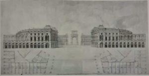 Пюже. Проект королевского дворца в Марселе. 1686-1687. Музей изящных искусств. Марсель. Этим величественным дворцом город должен был выходить к порту Марселя