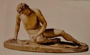 Умирающий галльский вождь. Это бронзовая копия, находящаяся в Капитолийский музеях. Рим. Оригинал был создан при царях Пергама Аттале I и его дяде Эвмене II примерно в 240 г. до.н.э.