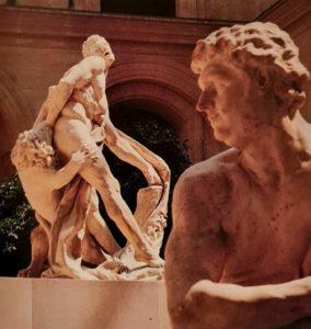 «Геркулес» Пюже со вторым подбородочком в профиль на фоне «Милона Кротонского»