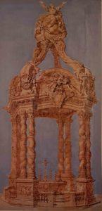 Пюже. Проект балдахина для собора Санта Мария Ассунта в Генуе. Рисунок размером 186х96 см. Музей Гранье в городе Экс-ан-Прованс, Франция